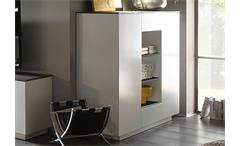 Highboard 2 Darwin Anrichte Schrank weiß matt lackiert Glas Steinoptik grau