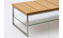 Couchtisch Norge Beistelltisch Tisch Klarglas Asteiche Massivholz 100x60 cm
