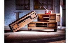 TV-Board Finca Lowboard auf Rollen recycle Kiefer massiv antik braun lackiert