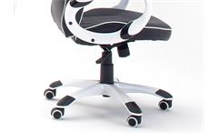 Drehstuhl Steve Chefsessel Bürostuhl schwarz weiß Hochglanz lackiert mit Gaslift