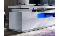TV Board Evelina Lowboard HiFi Media Möbel MDF weiß Hochglanz lackiert inkl. LED