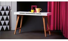 Schreibtisch Anneke in matt Weiß lackiert Beine aus Massivholz