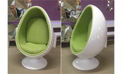 Lounge Sessel Retro Design Sitzei SPACE EGG weiß Stoff lime grün