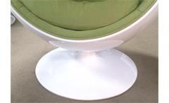 Lounge Sessel Retro Design Sitzei SPACE EGG Glasfaser weiß Polster lime grün