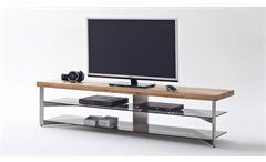 Media Rack Fabia Lowboard Tv-Board Eiche Massiv Glas grau Metallgestell 180 cm