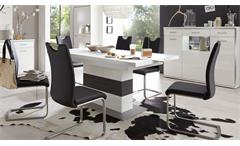 Esstisch Trento Säuelntisch Tisch ausziehbar weiß und grau 180-280x100 cm