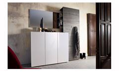 Garderobenset 2 Vicenza Garderobe in weiß Hochglanz lackiert und Wenge