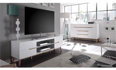 Lowboard Cervo TV-Board Unterschrank Kommode Schrank in weiß matt Lack und Eiche