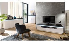 Lowboard Atlantas Unterschrank TV-Board Kommode weiß matt beton grau inkl. LED