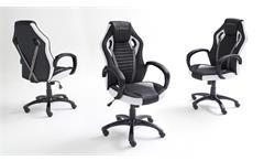 Chefsessel Burt McRacing Drehstuhl Bürostuhl in weiß und schwarz Hochglanz