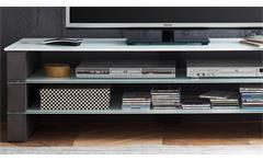 TV-Rack Olivias TV-Board Lowboard Unterschrank in Beton grau und Glas weiß