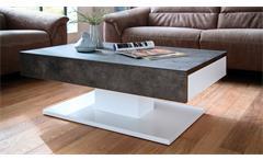 Couchtisch Lania Beistelltisch Tisch Wohnzimmertisch  Beton grau und weiß matt Lack