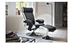Relaxsessel Bente Sessel mit Hocker Fernsehsessel schwarz weiß Chrom Funktion