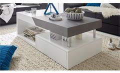 Couchtisch Hopes Beistelltisch Wohnzimmertisch in weiß matt Lack und Beton