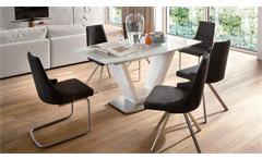 Tischgruppe Ilko Elara Tisch in weiß Hochglanz Lack Schwingstuhl in grau