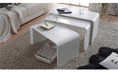 3-Satz Tisch Phil Couchtisch Beistelltisch Wohnzimmertisch in weiß matt Lack