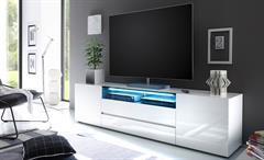 TV-Board Vicenza Lowboard Unterschrank in weiß Hochglanz lackiert 203 cm