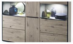 Highboard Avignon Schrank Asteiche teilmassiv Stone grau mit LED Wohnzimmer