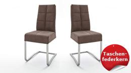 Schwingstuhl SALVA 2 2er-Set Stuhl sand Luxus Komfort Taschenfederkern