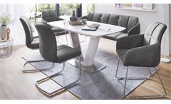 Stuhl Tessera Armlehnstuhl Polsterstuhl Esszimmer in grau und Edelstahl