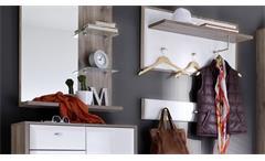 Garderobe Comino in weiß Hochglanz und San Remo Eiche Rustiko 6-teilig Flurmöbel