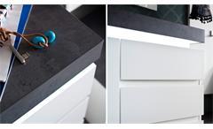 Schuhschrank Atlanta Schuhkommode matt und weiß Betonoptik mit LED Garderobe