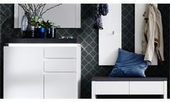Garderobe Set Atlanta mit Dielenschrank matt weiß Betonoptik mit LED Flurmöbel