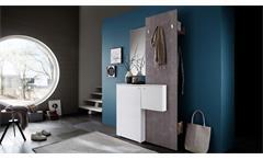 Garderobe ZARA 1 in weiß Melamin und Betonoptik