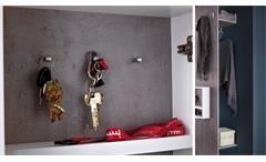 Garderobe Zara 1 Kleiderhaken weiß Melamin und Betonoptik Flurmöbel
