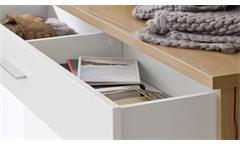 Kommode Talo weiß matt und Crackeiche Furnier Garderobe Schrank 120 cm breit