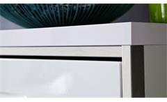 Kommode Trento weiß Hochglanz tiefzieh Edelstahlakzente Garderobenschrank 94 cm