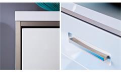Kommode Trento weiß Hochglanz tiefzieh Edelstahlakzente Garderobenschrank 124 cm