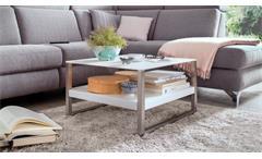 Couchtisch Baveno Tisch in MDF und Glas weiß lackiert mit Metallgestell 65x65 cm