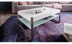 Couchtisch Migel Tisch in MDF und Glas weiß lackiert mit Metallgestell 105x65 cm
