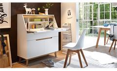Sekretär Cervo Schreibtisch Kommode Anrichte in weiß matt Lack und Asteiche