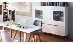 Highboard CERVO Vitrine Schrank Hochschrank Wohnzimmer weiß matt Lack Asteiche