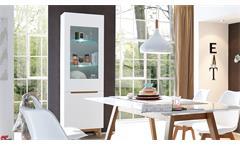 Vitrine Cervo Hochschrank Schrank für Wohnzimmer in weiß matt Lack und Asteiche