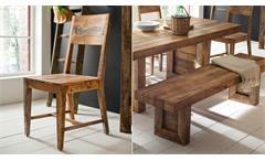 Essgruppe Wayland Mango Holz massiv Esstisch 200x100 Bank und 5 Stühle