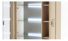 Wohnwand Bologna Eiche Bianco mit Hirnholz Applikationen Fronten Massivholz Glas