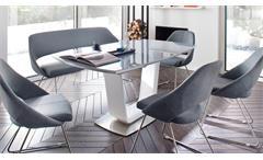 Säulentisch Xander Esstisch weiß Hochglanz Lack Glas grau Synchronauszug 180-230