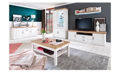 Wohnwand 2 Brixen Anbauwand Wohnzimmer in Pinie weiß Grandson Eiche Landhausstil