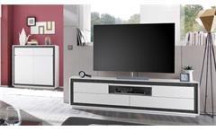 Lowboard TV-Board TV-Schrank Durban weiß Lack matt 4 Schubkästen Beton Dekor
