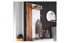Garderobenpaneel Granada Wandpaneel Wandgarderobe weiß Hochglanz lackiert Eiche
