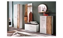 Garderobe 1 Granada Komplett Set Flurmöbel weiß Hochglanz Lack Eiche mit Spiegel