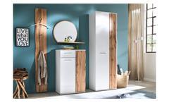 Garderobe 2 Granada Komplett Set Flurmöbel weiß Hochglanz Lack Eiche mit Spiegel