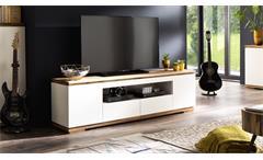 Lowboard Chiaro TV-Board weiß matt lack und Asteiche massiv Wohnzimmer Kommode