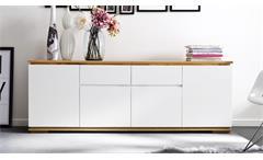 Sideboard Chiaro Kommode weiß matt lack und Asteiche massiv Wohnzimmer Anrichte
