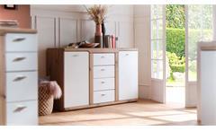 Sideboard Torino Kommode Anrichte Wohnzimmer Schrank weiß matt und Balkeneiche