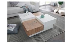 Couchtisch Pensa Tisch Wohnzimmertisch weiß Hochglanz lackiert Eiche 90x90 cm