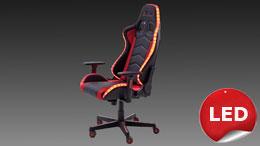 Gamingsessel McRACING Bürostuhl rot schwarz Mesh inkl. LED mit 12 Farben
